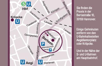 Skizze Anfahrt zur Praxis Dr. Graffunder in Hannover